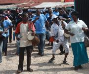 Mobilizers for family planning sing slogans during a mobility parade at Oniyanrin primary health centre in Ibadan, South-west, Nigeria, November 7, 2012