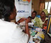 A couple, Mr and Mrs Taiwo Gabreal attend a family planning counselling session Molete district primary health centre in Ibadan, South-west, Nigeria, November 7, 2012.