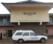 An ambulance is parked in the frontage of Jericho specialist hospital in  Ibadan, South-west, Nigeria, November 7, 2012.