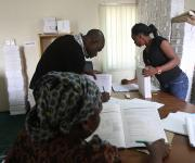 Family planning data input officers, work in a room at the measurement, learning and evaluation office at the central business district in Nigeria's capital Abuja November 10, 2012.