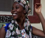 Mrs Voke Onodje Moore gestures during a testimonial interview on family planning usage with NURHI in her home in Karu village, outskirt of Nigeria's capital Abuja November 10, 2012