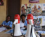 Megaphones used as public address system are placed on a table after a visibility parade near Orolodo primary health centre in Omuaran township in Nigeria's central state of Kwara, November 5, 2012.